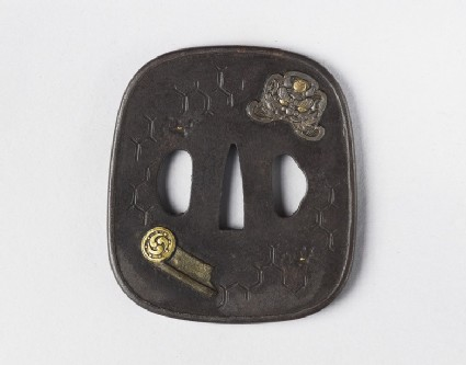 Round tsuba with design of roof ornaments and tiles