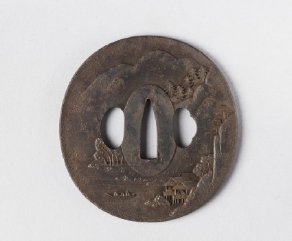 Round tsuba with design of a Chinese landscape