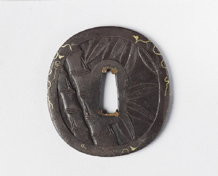 Round tsuba with design of bamboo