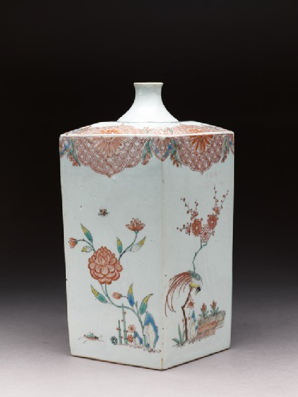 Square bottle with Dutch decoration of flowers, birds, and insects