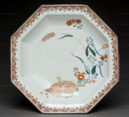 Octagonal dish with quails and millet