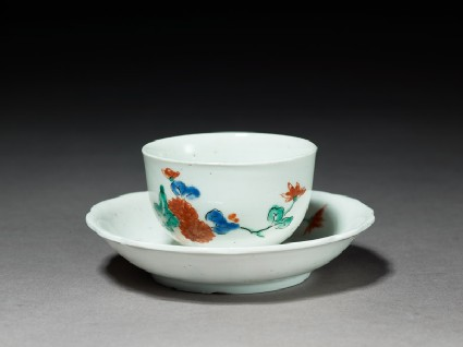 Cup and saucer with chrysanthemum sprays