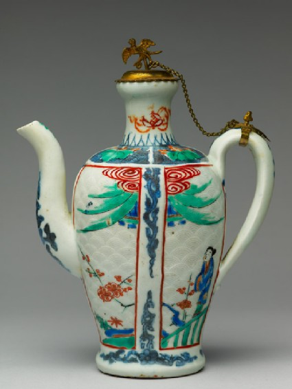 Ewer with a woman and prunus plants
