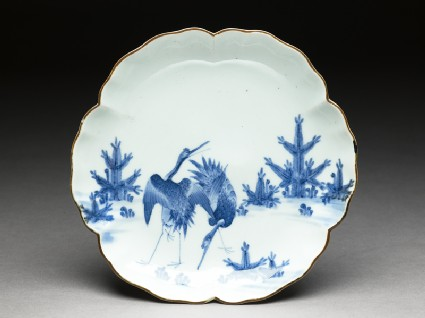 Petalled saucer with cranes