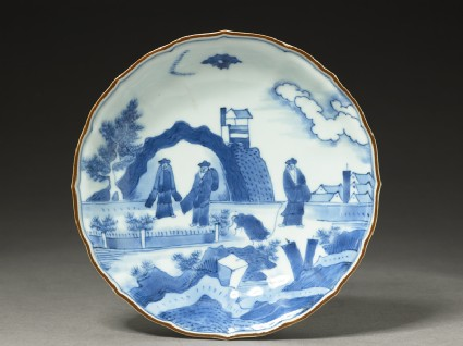 Foliated plate with 'Deshima Island' theme