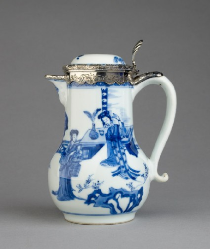Blue-and-white jug with garden landscape and Dutch silver mount