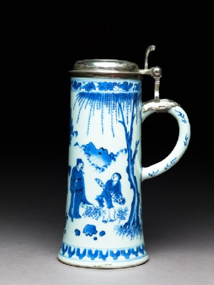 Blue-and-white tankard with Swedish silver mounts