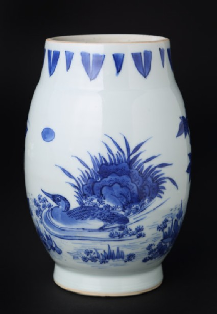Blue-and-white jar with duck and heron