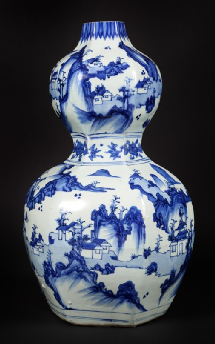 Blue-and-white hexagonal vase in double-gourd form