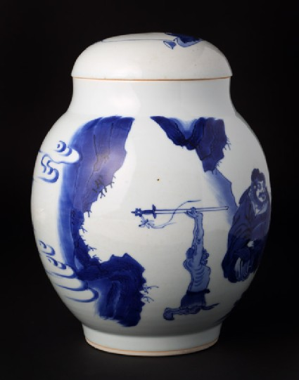 Blue-and-white jar and lid with figures in a landscape