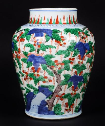 Jar with vines and tree shrews