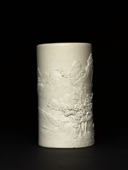 Brush pot with mountainous landscape