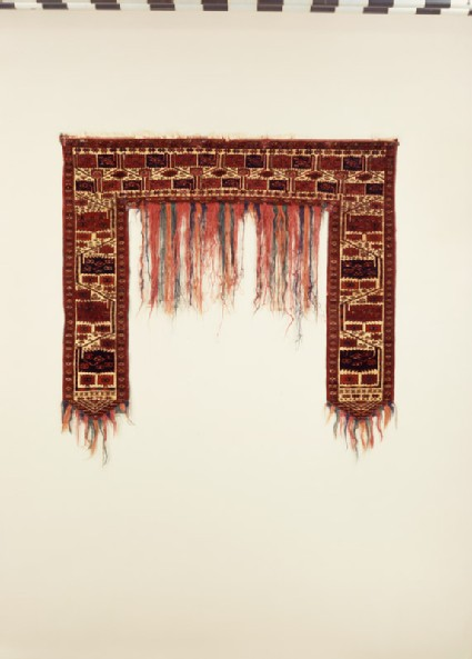 Tent door surround, or kapunuk, with rectangular saw-edged medallions