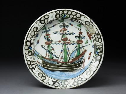 Dish with a European ship