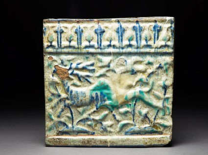 Frieze tile with hound and stag