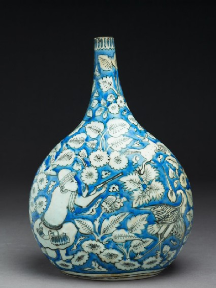 Flask with figures, animals, and leaves
