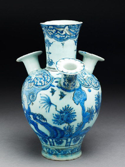 Vase or water pipe with figure, birds, and trees