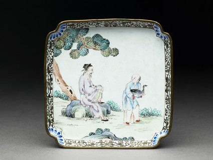 Copper tray with figures under a tree