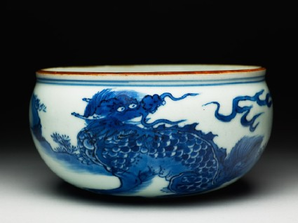 Blue-and-white censer bowl with a kylin, or horned creature