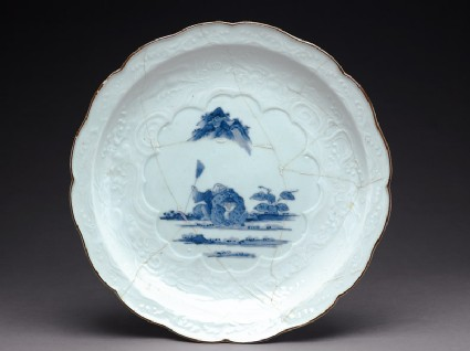 Foliated dish depicting the sages Kanzan and Jittoku