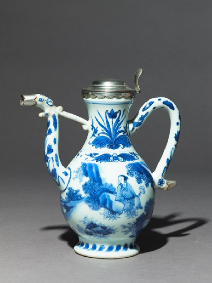 Blue-and-white ewer with European silver mounts