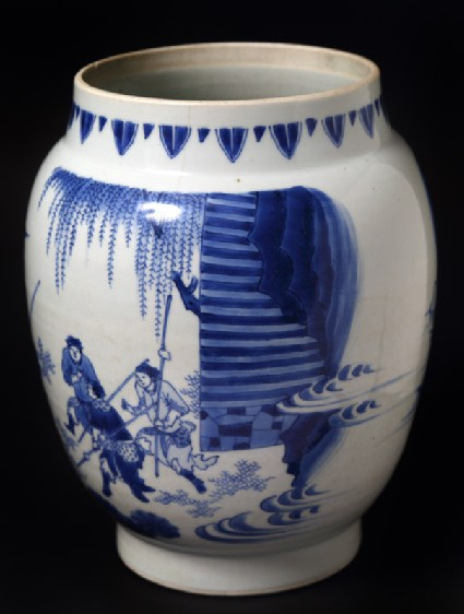 Blue-and-white jar with warrior on horseback