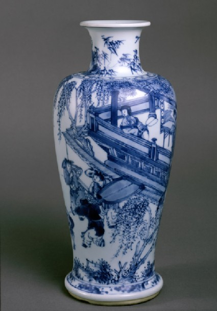 Blue-and-white vase with figures on a balcony