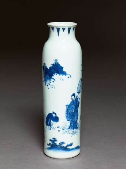 Blue-and-white vase with official and attendants