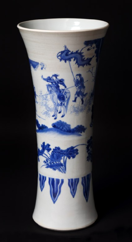 Blue-and-white beaker vase with warriors in a landscape