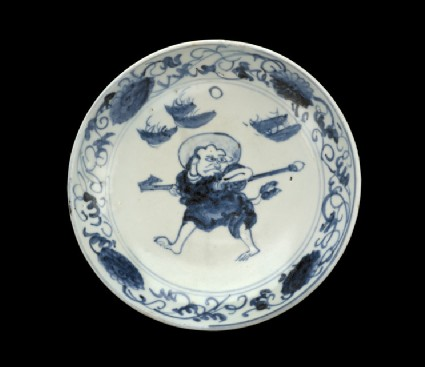 Dish with haloed monk