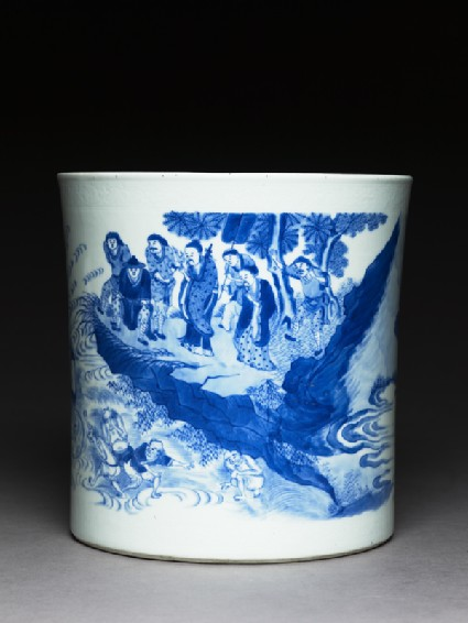 Blue-and-white brush pot with demons in a river