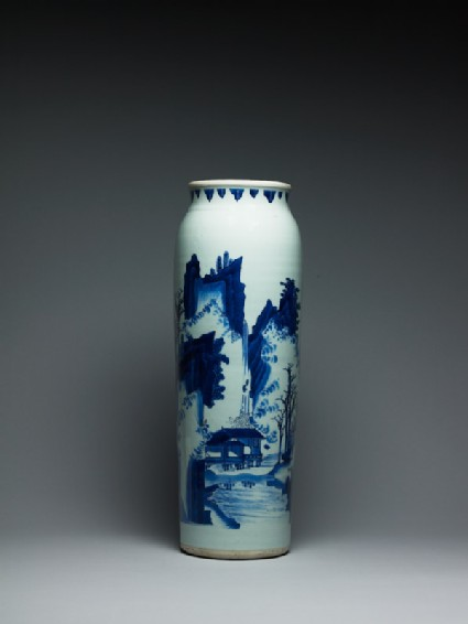Blue-and-white vase with figures in a mountainous landscape