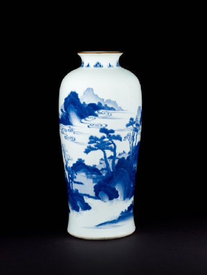 Blue-and-white vase with cloudy landscape