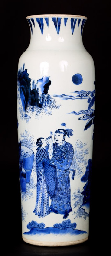 Blue-and-white vase with lovers in a landscape
