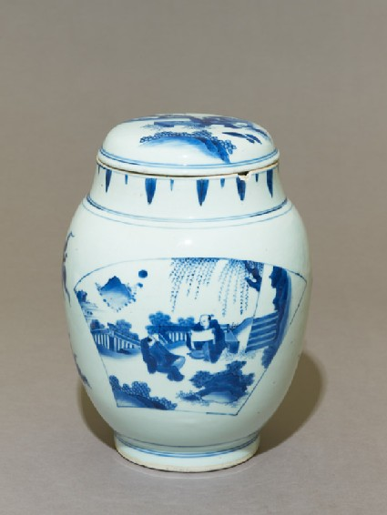 Blue-and-white jar and lid with scholars on a terrace