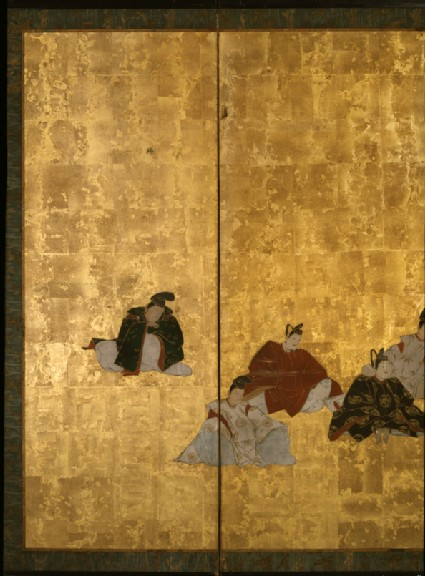 Six-fold screen depicting the thirty-six poets