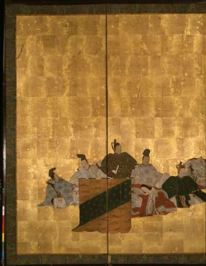 Six-fold screen depicting the thirty-six poets