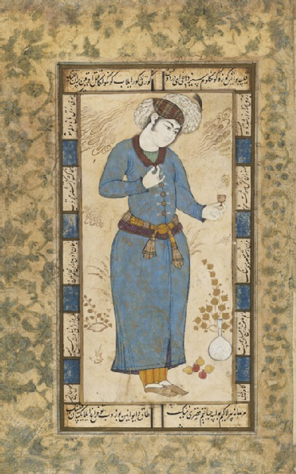 Page from a dispersed muraqqa', or album, depicting a courtier holding a wine cup