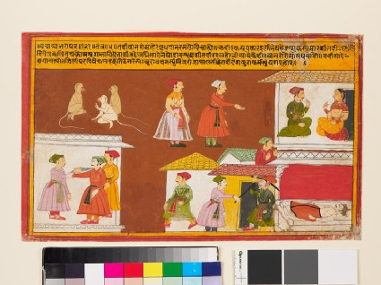Servant protecting the house where a king lies dead, from a Pancha Tantra manuscript