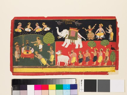 Krishna revered by Indra arriving on a white elephant