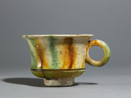 Cup with striped three-coloured glaze