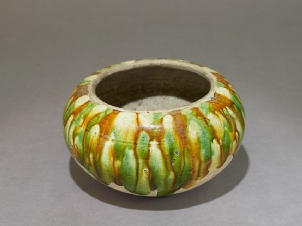 Bowl with three-colour glaze