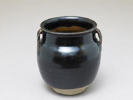 Black ware jar with black glaze