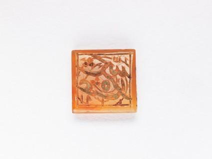 Square bezel seal with nasta'liq inscription and spiral decoration