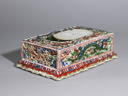 Porcelain inkstone decorated with dragons chasing fiery pearls