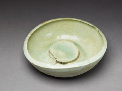 Bowl waster with pale-green glaze
