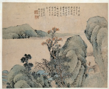 Landscape with figure on a bridge