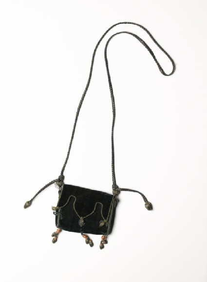 Velvet and leather purse