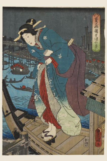 A courtesan disembarking from a boat at night
