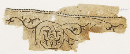Textile fragment with scroll tendril and trefoil leaves, probably from a tent